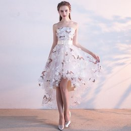 Wholesale butterfly robes - Hi Low Short Front Long Back Homecoming Dresses Butterfly Print with Flowers Short Prom Party Cocktail Dress Robe De Soiree