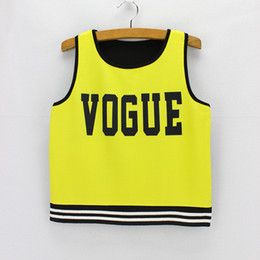 Wholesale Fluorescent Shorts Women - 2016 fashion design short dresses low price drop shipping Vogue Fluorescent yellow print Crop tops women summer cropped tanks