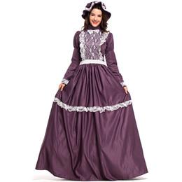 Nuevos Trajes de Corte de La Vendimia de Encaje Púrpura Vestidos Largos Para Mujeres Cosplay Fiesta de Disfraces de Halloween de Lujo Bola de Ropa Por DHL Venta Caliente desde fabricantes