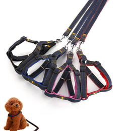 Wholesale Puppies Belt - Dog leash chest back sets of large collar harness chain safety belt pets traction rop pet strap rope for puppy small medium large dogs
