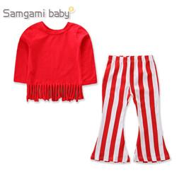 2019 borlas vermelhas Meninas do bebê Vermelho de Manga Longa Borla T + Listrado Calças De Flare 2 pcs Roupas Ternos Define Halloween Natal Crianças Crianças boutique roupas boutique desconto borlas vermelhas