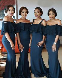 2019 vestidos formais para meninas tamanho 14 Preto africano meninas sereia vestidos de dama de honra cintas de espaguete maid of honor dress robes de fête vestidos de noite plus size vestidos formais vestidos formais para meninas tamanho 14 barato