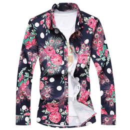 Argentina Niza nueva primavera otoño hombre de alta calidad camisa de los hombres de lujo ocasional del pavo real impreso floral camisas de vestir de manga larga más el tamaño 7XL cheap plus fancy dress Suministro