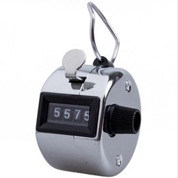 Wholesale hand tally manual counters - Digits Stainless Counters Professional 4 Digit Hand Held Tally Counter Manual Palm Clicker Number Counting Golf watch 2400pcs HHA26