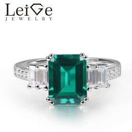 eb0299321eb7 joyería esmeralda 925 Rebajas Leige Jewelry Lab Anillo Esmeralda Corte  Esmeralda Configuración de diente Plata de
