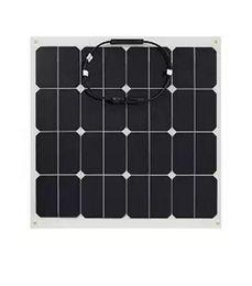 Wholesale Solar Cell 12v - 10pcs 50W 12V Semi flexible solar panels light weight 3mm thickness marine solar panels