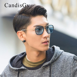 Wholesale Golden Beam - Mirror Cool Square Hot Fashion Men Women Unisex Sunglasses Brand Designer Thom Double-Beam Male Sun Glasses Eyewear Male Shades