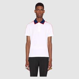 Wholesale Polo Down - 2018 summer fashion designer luxury G brand tag clothing men fabric letter polo t-shirt turn-down collar casual women tshirt tee shirt