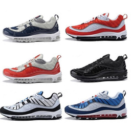Wholesale Fashion World Shoes - With Box The World Fashion 98 OG Maxes White Blue Designer Sneakers Men's Casual Shoes Running Shoes Hight Quality Mens Shoes