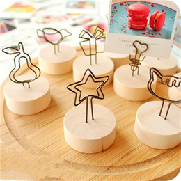 Wholesale Flower File - Wooden Photos Clip Creative Flower Shape Business Card Files Clips Office Supplies Accessories Many Styles 0 95pb C R