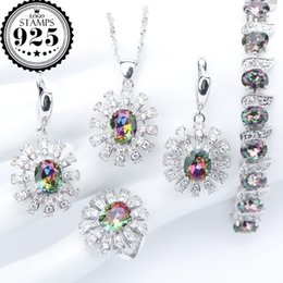 Wholesale women boxing costume - Magic Rianbow Costume CZ 925 Silver Jewelry Sets Women Charms Bracelets Pendant&Necklace Ring Earrings With Stones Set Gift Box