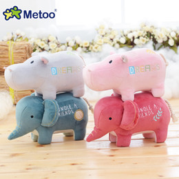 Wholesale Toy Hippo Gifts - 4.7 Inch Plush Stuffed Lovely Cartoon Baby Kids Toys for Girls Birthday Christmas Gift Animals Hippo Elephant Metoo Doll