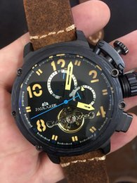 Wholesale Boat Steel - Wholesale-Brand New Men's Automatic Mechanical Rose Gold Boat Stainless Steel Brown Cow Leather Sports 50mm Tourbillions Watches For U