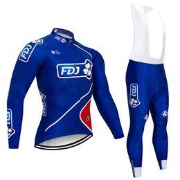 Envío gratis 2019 FDJ TEAM ciclismo jersey bicicleta pantalones conjunto invierno térmica polar desgaste ciclismo MTB pro bicicleta ropa desde fabricantes