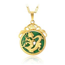 Colar de pingente de ouro dragão jade on-line-2018 Brand New Noble 18 k banhado a ouro homens Colar de Pingente de Malay jade Dragão Colar MOG 1