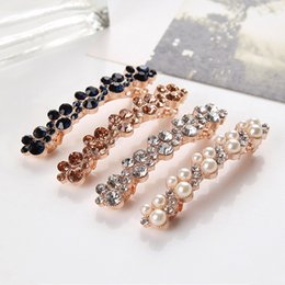 Wholesale hair pins fashion jewelry - Pearl Hairclips Women Fashion Crystal Rhinestone Barrette Girl Hair Clip Pins Women Hair Jewelry