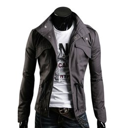 Wholesale Men Color Winter Type - Winter Autumn Men Jacket Black Gray Stand Collar Personality Basic Jackets Mens Casual Slim Type Coat Pockets Outwears Plus Size M-3XL