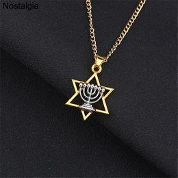 Ювелирные украшения онлайн-Nostalgia 10Pcs Menorah Star Of David Religious Jewish Pendant Judaica Magen Men Necklace Hebrew Israel Mitzvah Hanukkah Jewelry