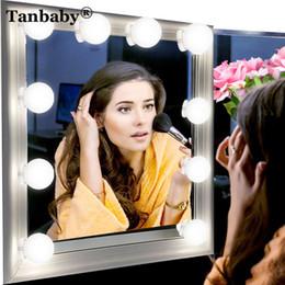 Luces de cadena frescas online-Tanbaby DIY Hollywood Style LED luz de espejo 10pcs / lot USB Plug Vanity Mirror String Kit de luces con Touch Dimmer Cool White