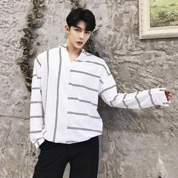 12b3a10e185 Fall new geometric stripe design v-neck long sleeve shirt trend casual men s  shirts