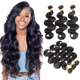 Brazilian Virgin Hair Body Wave 3 Bundles 100% sin procesar Brasileño de la armadura del cabello humano Natural Black Color brasileño Body Wave Hair desde fabricantes