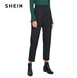 4e2d698bf8 SHEIN Cuffed Leg Pinstripe Peg Pants Women Fashion Clothing High Waist Work  Trousers 2018 Spring New Casual Elastic Waist Pants