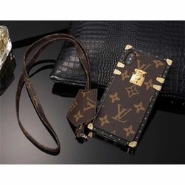 ipad mini faltende fälle Rabatt Luxus Branded Grid Leder Telefon Fall für iPhone XS MAX XR 6 6 s 7 8 8 Plus Fall-Stecker-Karte Handy Fall zurück Abdeckung