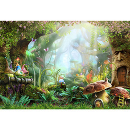 forest background backdrops Promo Codes - Fairy Tale Wonderland Enchanted Forest Background Photography Mushrooms Old Trees Butterflies Baby Girl Birthday Party Photo Booth Backdrop