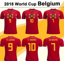 2018 World Cup Belgium Soccer Jersey LUKAKU DE BRUYNE HAZARD Home Red  Football Shirts MEUNIER National Team Short Jerseys Mens Uniforms 8de4e8363