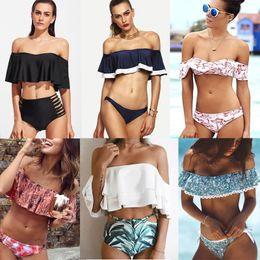 Wholesale Two Piece Bikini Bandeau - Elegant Ladies Flounced Bikini Set Swimsuit Off-Shoulder Bandeau Bikini Bra Boho Printed Beach Bathing Suit Women Two-Piece Swimwear CCH0701