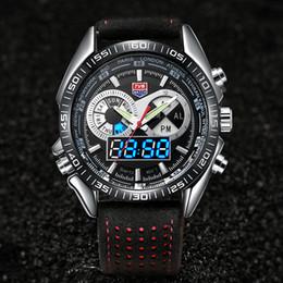 9427ba046f7 TVG Led Esporte Men Watch Pulseira De Couro Luminosa Mãos Homem Relógios  Moda Auto Data Relógios de Pulso Relogio masculino Digital