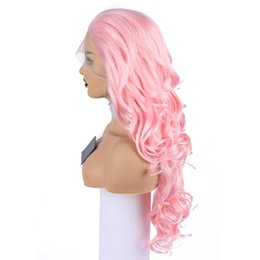 Perruques de cheveux longs réels pour les femmes en Ligne-Cosplay perruque rose clair synthétique avant de lacet perruques longue perruque pour femmes Coiffure Cheveux Naturels Image Réelle