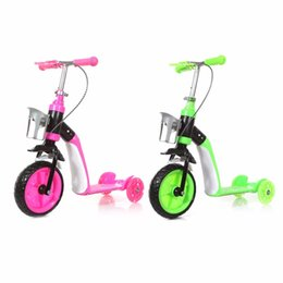 Wholesale Pink Tyre - Hot Children Scooter Three Wheels Slide Two In One Child Sliding Vehicle With Bottle Holder Adjustable Height Large Front Tyre