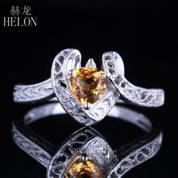 11828fd07703 2019 anillos de novia de oro blanco HELON Solid 10K oro blanco 5x5mm  Trillón Anillo de
