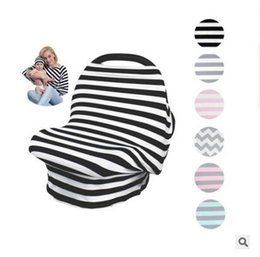 magasins de chapeaux Promotion Hat Set Bébé Siège De Voiture Canopy Cover Garçons Filles INS Poussette Couverture d'Allaitement Stripe Multi-usage Stretchy Nouveau-né Allaitement Shopping Cart Covers