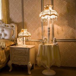 Wholesale European Style Coffee Table - Simple Fashion Princess Led Floor Lamp Led Bulb E27 110V-220V Coffee Table Fabric Lampshade Floor Lamps European Style