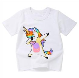 Deutschland Großhandelsnettes Tierdruck-buntes Baby scherzt Kleidung-Kurzschluss-Hülsen-Pullover-Sommer-T-Shirt für Kindertagesgeschenk cheap children s t shirts wholesale Versorgung