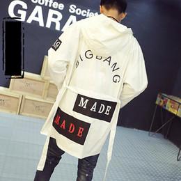Wholesale Korean Woman Nightclub - 2017 New Korean Mens Jackets And Coats Spring & Autumn Thin Letters Print Hooded Overcoats For Man & Women Long Nightclub Jacket