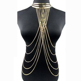 Wholesale Body Harness For Women - whole saleSexy Multilayer Long Tassel Body Necklace Fashion Punk Golden Bikini Harness Big Torques Necklace Beach Jewelry for Women
