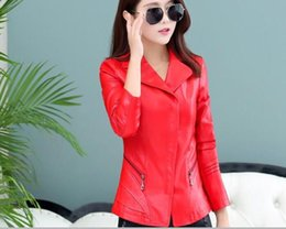 Wholesale Sexy Red Leather Jacket - 2017 Spring Women Short Sexy Leather Jackets Black Red Plus Size 4XL Slim Fit Veste Cuir Femme jaqueta Shearling Coats
