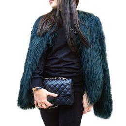 Chaqueta de pelo flotante abrigo de piel de las mujeres de señora de piel de abrigo de imitación Faux Fox Chaquetas Hairy Party abrigo cálido más el tamaño XXXL desde fabricantes