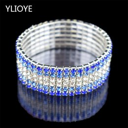 children quality bracelet Coupons - High Quality Fashion 6 Row wide Stretch Crystal Bracelets & Bangles blue Bracelets For Women Jewelry Girl child