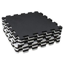 2019 cojines de pavo real 10 piezas Eva Foam Puzzle estera de ejercicios que se enclavija azulejos de piso - blanco y negro