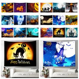 Хэллоуин полотенца онлайн-19styles 130 * 150 см Хэллоуин печати настенные гобелен тыква призрак пляжное полотенце открытый банные полотенца мультфильм Шаль йога коврик одеяло ffa788