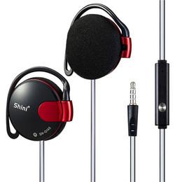 Wholesale Earhook Mic - 3.5mm Headset EarHook Super Bass Earphone With Mic For Mp3 Player Computer Mobile Telephone Earphone