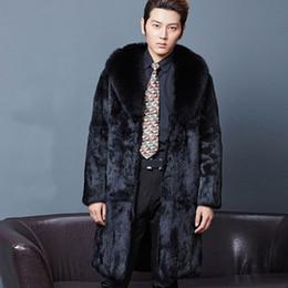 Wholesale Fox Fur Leather Jacket Men - Mens long faux fur coats Splice winter Fox fur Fashion thickening lapel plus size jackets warm leather black jacket man