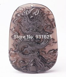 hand carved stone pendants Coupons - Wholesales Natural Ice Clear Obsidian Carved Dragon Lucky Amulet pendant free necklace Fashion Hand carved Pendants Jewelry