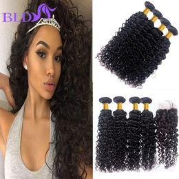 Wholesale Cheapest Brazilian Virgin Hair - Cheapest Brazilian Virgin Hair Water Wave Weave Middle Part Closure Water Wave Human Hair 4 Bundles With Closure