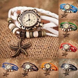 Wholesale Bracelet Butterfly Leather - Women Starfish Pendant Genuine Leather Vintage Watch Fashion Luxury Bracelet Butterfly Classic Leat 7Colors Choice for Children's Day