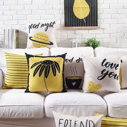 Bonne journée couverture en Ligne-Modern LOVE YOU Good Day Cushion Covers Black and Yellow Color Thick Linen Cotton Pillow Cover 10 Styles 45X45cm 30X50cm Bedroom Sofa Decor